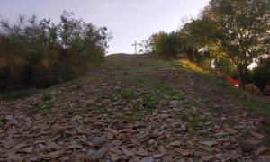 A cross stand on top Monte Testaccio, Rome, Italy.