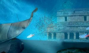 Underwater World (Public Domain) and ruins of the Palace of Sayil, Yucatan. (Rose Vekony/CC BY-SA 3.0); Deriv