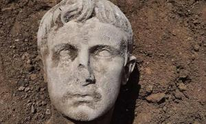 A view of the marble head of Augustus Caesar discovered last week in Isernia, a town in south-central Italy.