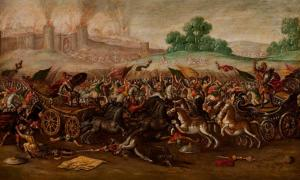 The Burning of Jerusalem by Nebuchadnezzar's Army by Circle of Juan de la Corte (1580 - 1663)