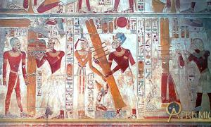 A scene on the west wall of the Osiris Hall at Abydos shows the raising of the Djed pillar.