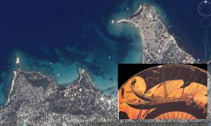 Google Earth image shows the general vicinity of the islands, near Bademli Village in Turkey on the Aegean Sea