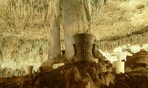 Inside the sacred Maya site of the Balankanché Cavern.