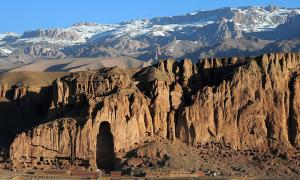 Sunrise shows the loss of the larger Bamiyan Buddha statue in the Bamiyan Valley, Afghanistan.