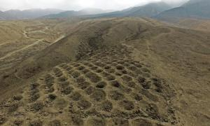 A low-altitude aerial view of a section of the holes.