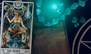 Tarot card depicting Baphomet, detail