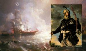 Main: Battle of a French ship of the line and two galleys of the Barbary/Ottoman corsairs. Inset: An Ottoman pirate.