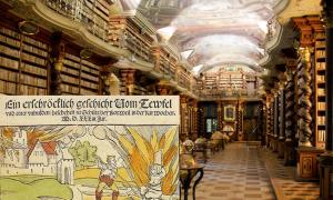 "Baroque library hall in the National Library of the Czech Republic in Prague. A collection of 13,000 occult and witchcraft books that were once part of Himmler's ""witch library"" were found in the library."