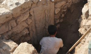Basalt stele revealed during excavations in Southeast Turkey