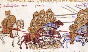 """A miniature depicting the defeat of the Georgian king George I (""""Georgios of Abasgia"""") by the Byzantine emperor Basil II. Skylitzes Matritensis, fol. 195v."""