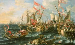 'The Battle of Actium, 2 September 31 BC' (1672) By Laureys a Castro.