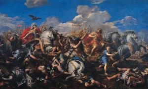 'Battle of Alexander versus Darius' (1644-1650) by Pietro da Cortona. Darius III was Alexander the Great's adversary at the Battle of Gaugamela. Source: Public Domain