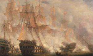 The Battle of Trafalgar, oil on canvas by John Christian Schetky, c. 1841.        Source: Yale Center for British Art / Public Domain