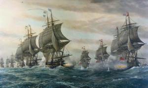 """A painting titled """"Battle of the Cheseapeake"""" of the Revolutionary War, by V. Zveg; the Potomac River, where the ship was found, empties into the Chesapeake Bay."""