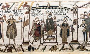 Bayeux Tapestry - Scenes 29-30-31: the coronation of Harold II of England. He receives orb and sceptre. On his left stands Archbishop Stigand.