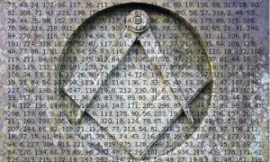 Square & compasses (Insignia of Freemasons) carved into stone. (Public Domain) Part of The Beale Papers Names Cipher C3.