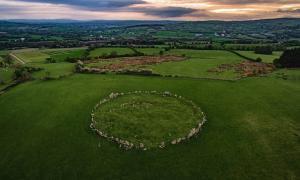 Beltany stone circle at sunset