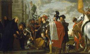 St. Benedict of the Benedictines receiving Totila, king of the Ostrogoths. Source: Paklao / Public Domain.