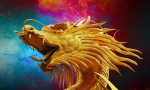 Dragon, Broncefigur, Golden Dragon, Thailand
