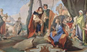 Fresco by Giovanni Battista Tiepolo of Rachel sitting on the idols.