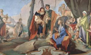 Fresco by Giovanni Battista Tiepolo of Rachel sitting on the idols.