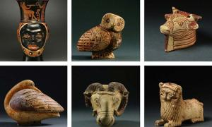 Some of the ancient artifacts seized from the home of Michael H. Steinhardt.