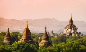 Myanmar sunset Bagan (formerly Pagan) temple      Source: murrrrrs / Adobe Stock