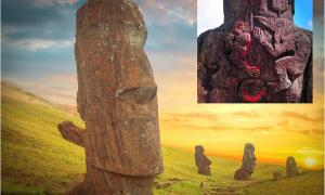Main: Group of Moai monoliths during sunset on Easter Island. Inset: Birdman cult carvings on the back of standing Moai.       Source: Aliaksei & thakala / Adobe stock