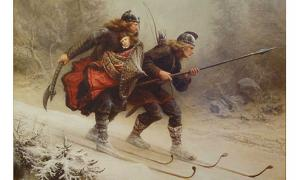 Skiing Birchlegs Crossing the Mountain with the Royal Child by Knud Larsen Bergslien