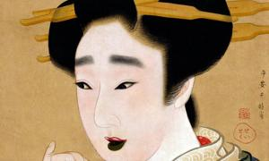 An Edo period painting showing a woman with teeth stained black by the practice of Ohaguro.