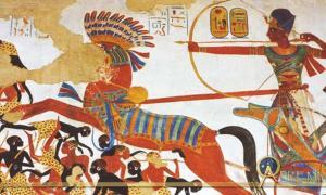 Ramses II at his chariot falls upon the Nubians