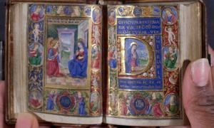 Manuscript of the 'Book of Hours' produced in Florence in the late 15th century. It is on uterine vellum. Credit: Rauner Special Collections Library.