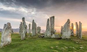Callanish stones at sunset.