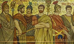 Agricola among Roman generals and emperors in this frieze from the Great Hall of the National Galleries Scotland by William Brassey Hole (1897) (Public Domain)