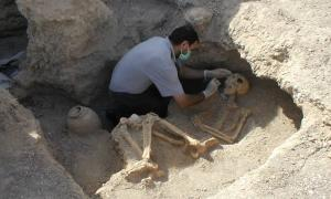 An archaeologist works in the Bronze Age Burnt City of southeastern Iran
