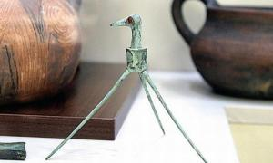 Ancient bronze stork discovered in the Rhodope Mountains in Southern Bulgaria.