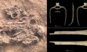 Bronze Age death rituals sometimes included curated remains, such as this skeleton that was buried with skulls and long bones of three people who had died much earlier. Source: Tees Archaeology / Antiquity Publications Ltd