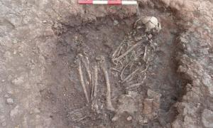 Bronze Age skeleton found at Stragglethorpe, during archaeological work on the Highways Agency scheme, England.