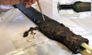 Ornate Prehistoric Bronze Sword Excavated In Denmark