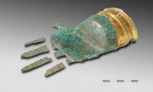 Bronze hand with a gold rim found near Lake Biel, Switzerland.