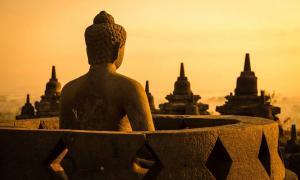 Buddha statue at Borobudur.