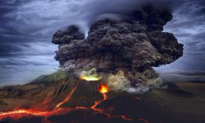Depiction of a volcano erupting to show what the eruption at Budj Bim could have looked like.           Source: SiriusRzn / Adobe stock