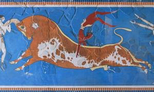 Detail of the famous Minoan bull leaping fresco.
