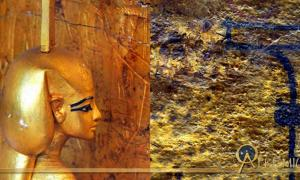 A small statue of goddess Nephthys guards the golden canopic shrine of Tutankhamun; and detail from the north wall of KV62.