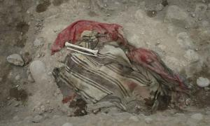 Human remains and textile found in a burial at the Huaca Bellavista archaeological site in Peru.