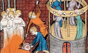 Burning witches and holding others in the Stocks, 14th century.