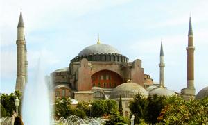 The Hagia Sophia, an iconic work of architecture that housed many iconic works of art.
