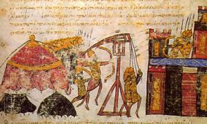 Image from an illuminated manuscript depicting a Byzantine siege of a citadel. A tactic of ancient biological warfare was to hurl infected dead bodies over city walls.
