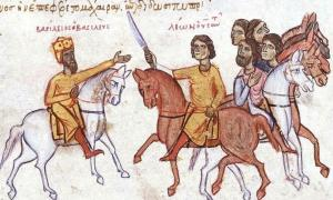 The Byzantine emperor Basil I (left) with his son Leo VI. Uploaded by Ghirlandajo, 2005