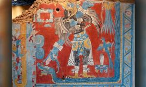 The 'Bird Man', one of the mural paintings in Cacaxtla